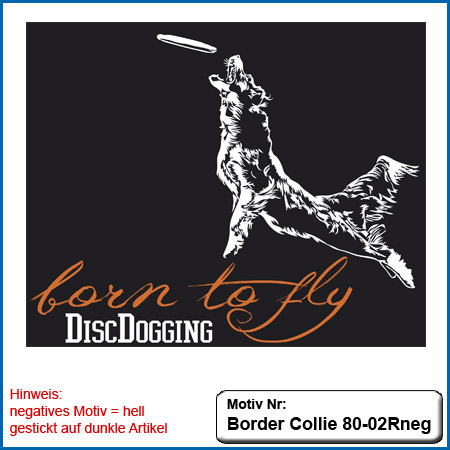 Hunde Motiv Border Collie gestickt Stickerei Border Collie im Flug Border Collie Disc Dogging Border Collie mit Frisbee