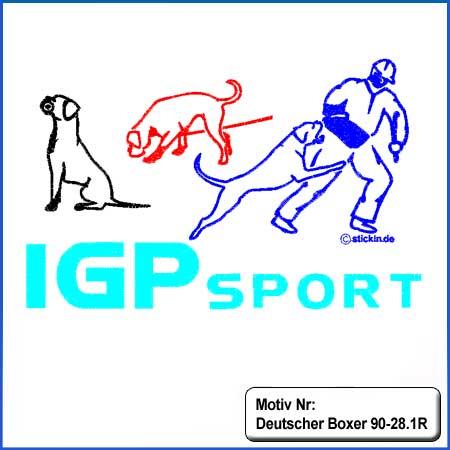 Hunde Motiv Deutscher Boxer IGP Motiv gestickt Stickerei Boxer Schutzdienst IGP gestickt