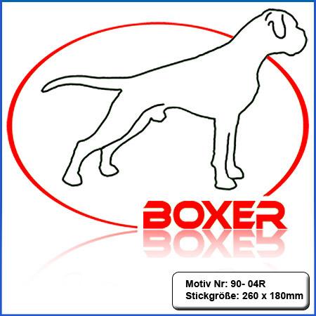 Hunde Motiv Deutscher Boxer stehend mit Elypse gestickt Stickerei Boxer sticken Boxer Hundemotiv