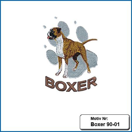 Hunde Motiv Deutscher Boxer mit Pfote gestickt Stickerei Boxer sticken Bruststickerei Boxer Hundemotiv