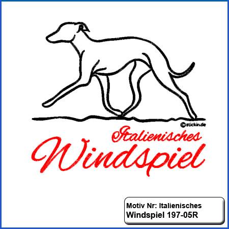 Hunde Motiv Italienisches Windspiel Stickerei Italienisches Windspiel sticken mit Schriftzug