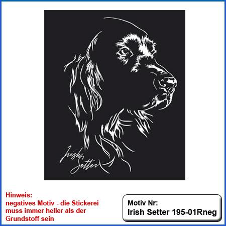 Hunde Motiv Irish Setter Kopf auf Hundesport Bekleidung sticken Stickerei Irish Setter sticken mit Schriftzug