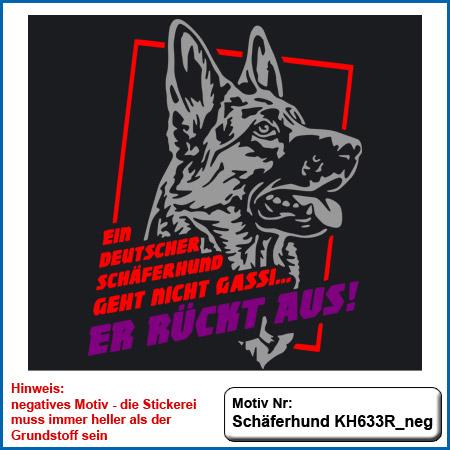 Hunde Motiv Schaeferhund rückt aus Deutscher Schäferhund sticken gestickt Stickerei DSH Schäferhund liegend komplett gestickt German Shepherd sticken