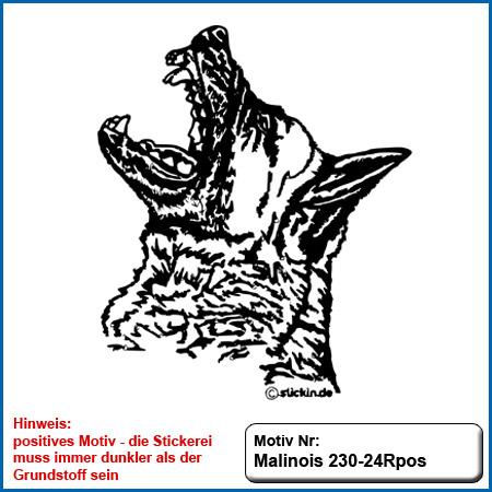 Hunde Motiv MALINOIS Stickerei Malinois Mali Belgian Malinois sticken Hundesport Bekleidung mit Malinois Hundemotov besticken sticken malinois Kopf sticken