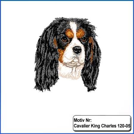 Hunde Motiv Cavalier King Charles Motiv gestickt Stickerei Cavalier Kopf gestickt